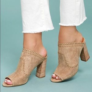 Butter Soft Tan Peep Toe Whipstitched Mules